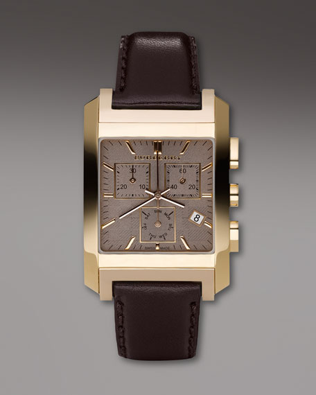 Rectangular Check Watch with Leather Strap, Brown