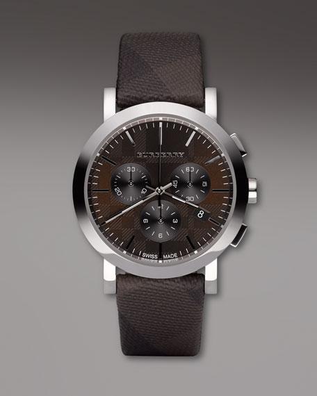 Round Check-Strap Watch
