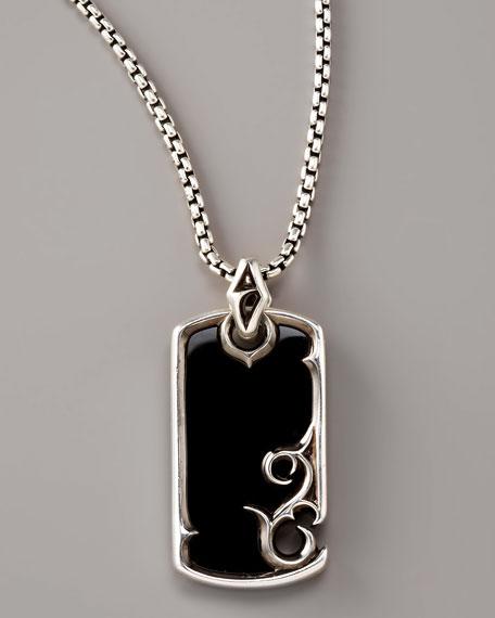 Onyx Scroll Dog Tag Necklace