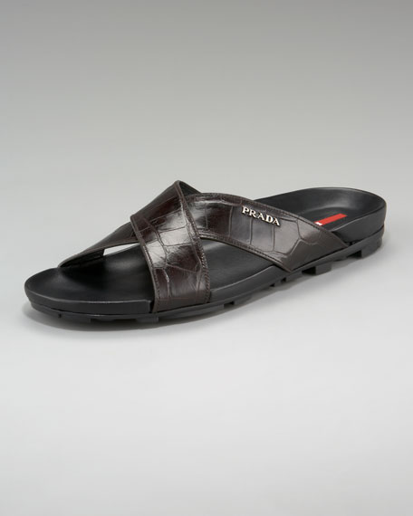 Crocodile-Embossed Sandal