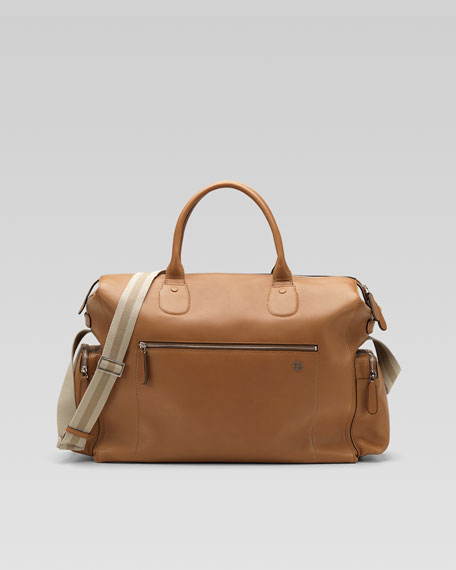 Leather Duffel Bag with Strap