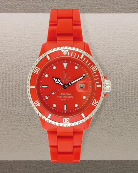 Oversized Plasteramic Watch, Red