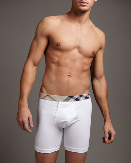 Check-Waist Boxer Briefs, White