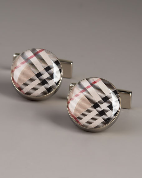 Round Check Cuff Links, Tan