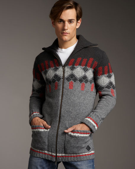 Jacquard Zip Sweater