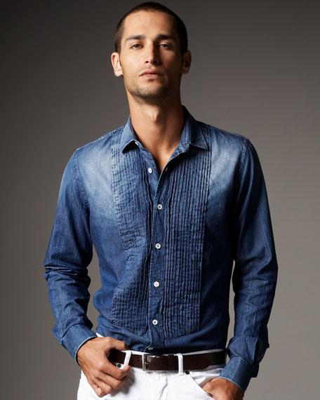 Pleated Denim Shirt