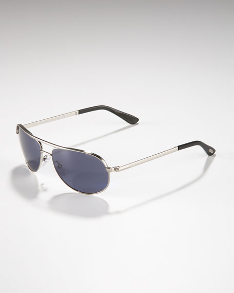 Mathias Aviator Sunglasses, Rhodium