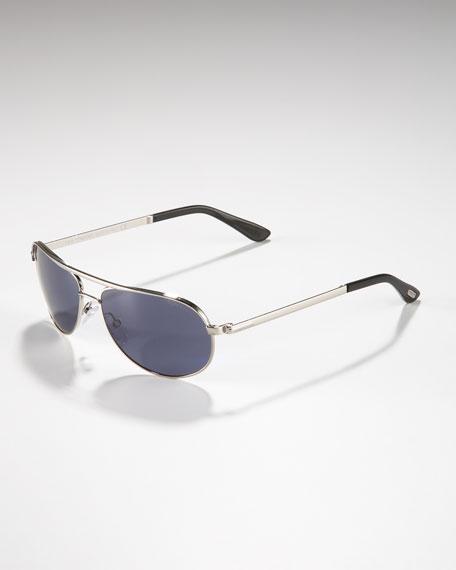 Mathias Aviator Sunglasses, Rhodium