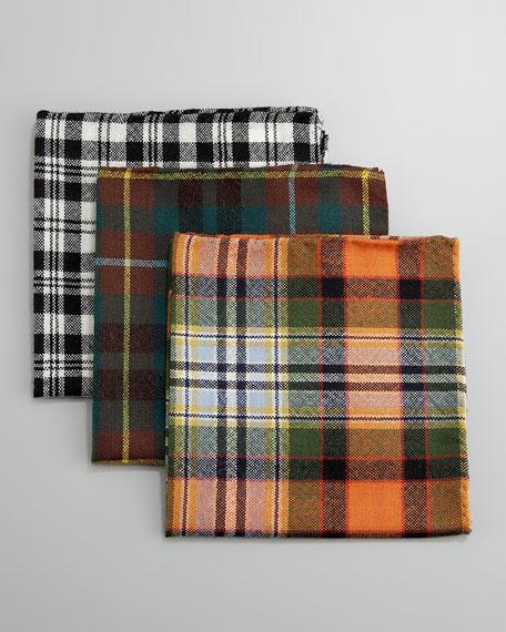 Plaid Pocket Square, Peach/Multicolor