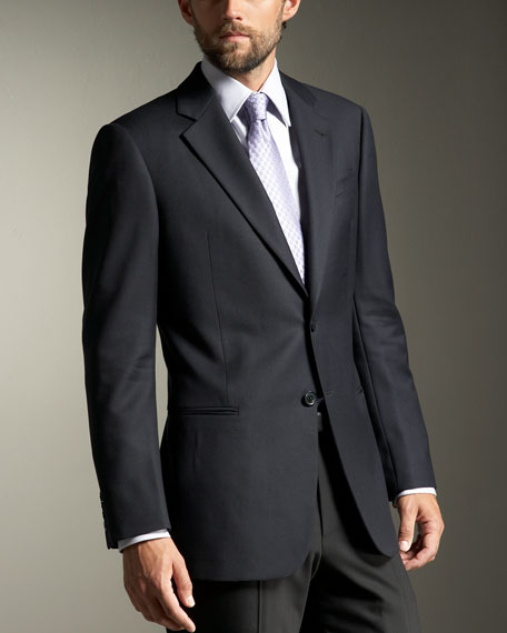 Giorgio Model Two-Button Wool Blazer, Navy
