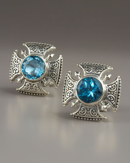 Blue Topaz Cross Cuff Links