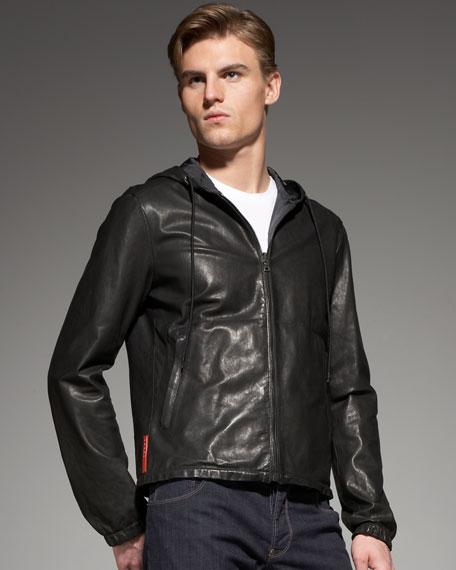 prada lady handbag - Prada Hooded Reversible-Leather Jacket