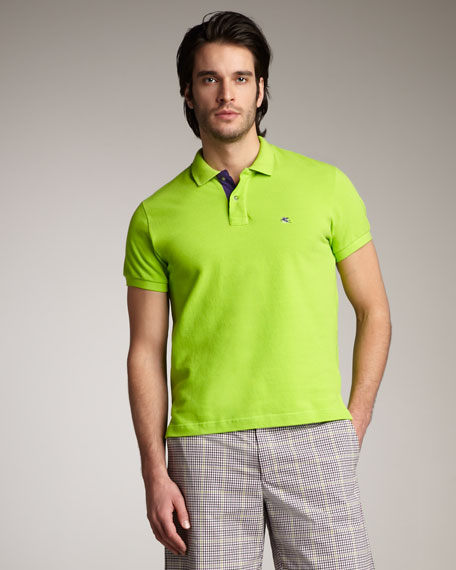 Paisley-Collar Polo, Green