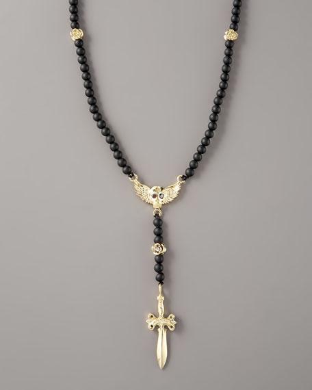 Black Onyx Rosary Necklace