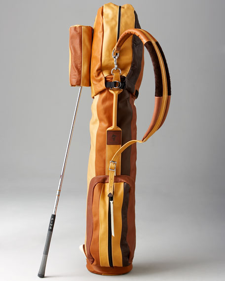 Striped Golf Bag, Brown-Cream