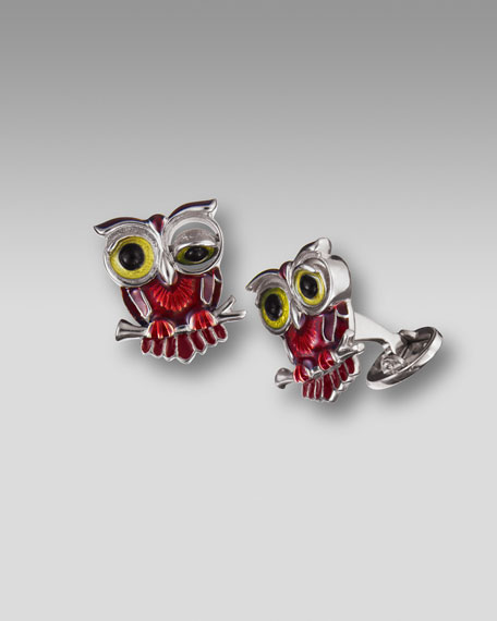 Winking Owl Cuff Links, Red
