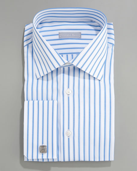 Striped French-Cuff Shirt, Blue-White
