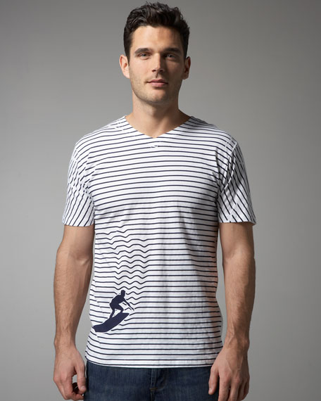 Surf's Up Striped Tee, White