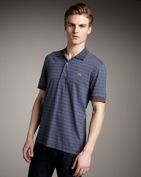 Shadow-Stripe Slub Jersey Polo