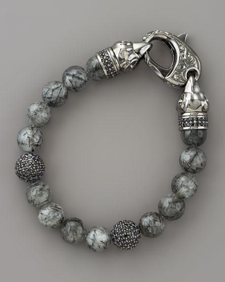 Rutilated Quartz Skull Bracelet