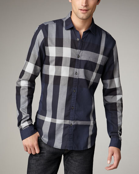 Quad-Check Woven Shirt, Navy