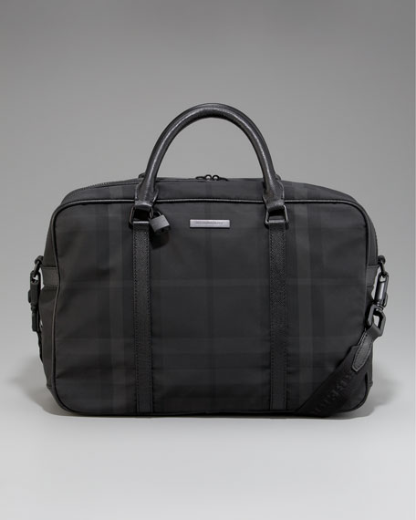 Check Nylon Briefcase, Large