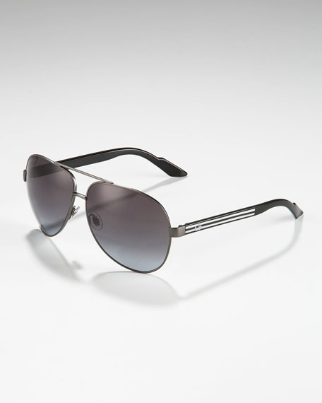 Metal Aviator Sunglasses, Dark Ruthenium