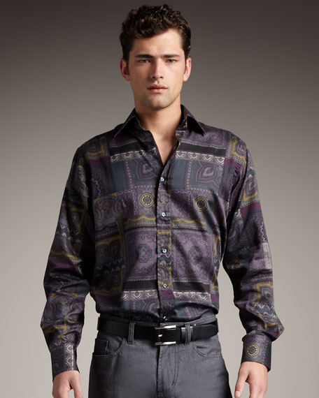 Scarf-Print Woven Shirt
