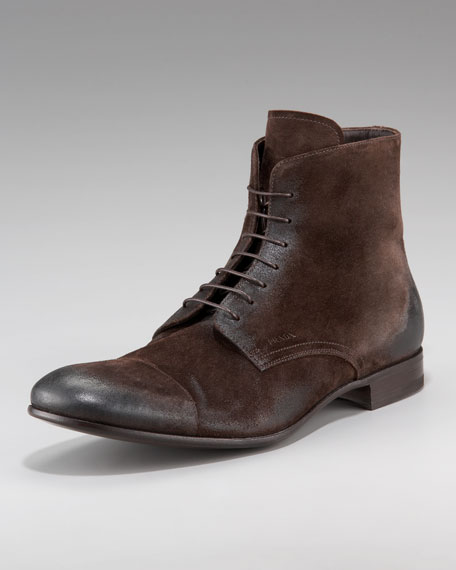 Brushed Suede Lace-Up Boot