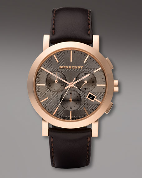 Leather-Strap Watch, Rose Golden