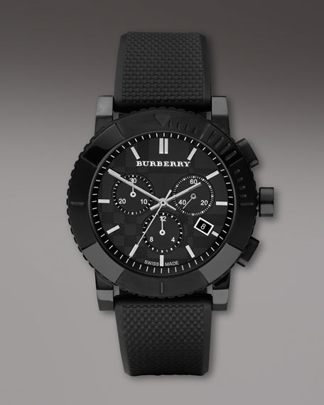 Texture-Strap Chronograph Watch