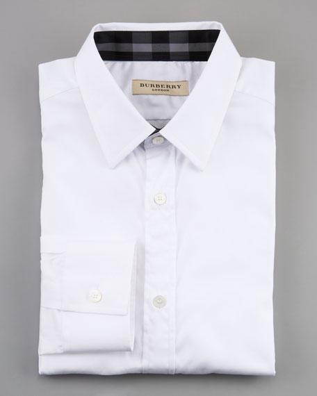 Check-Collar Dress Shirt, White