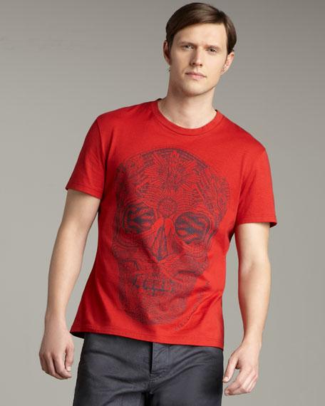 Skull-Print Tee, Red