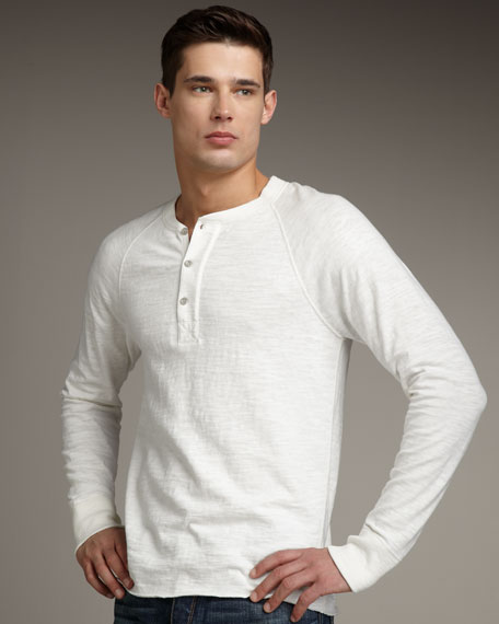 Raglan-Sleeve Jersey Henley