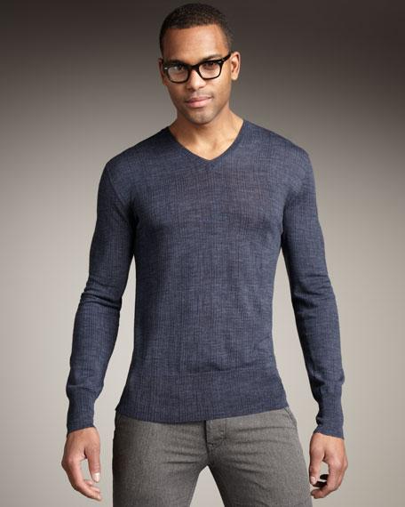 Broken-Stripe Merino Sweater