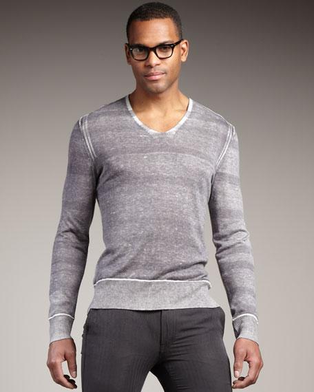 Striped Reverse-Print Sweater