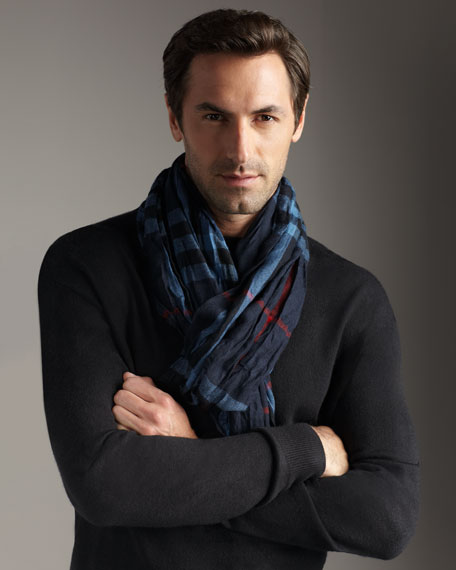 Crinkled Check Scarf, Blue Carbon