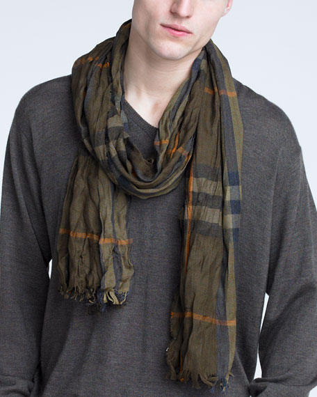 Crinkled Check Scarf, Fig