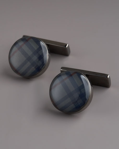 Check Enamel Cuff Links