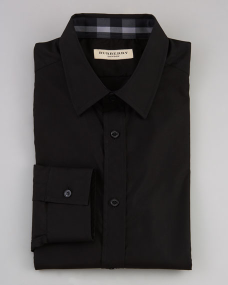 Check-Collar Dress Shirt, Black