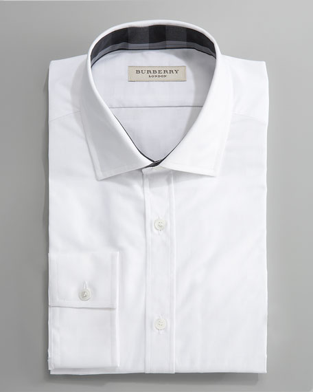 Tonal-Check Dress Shirt, White