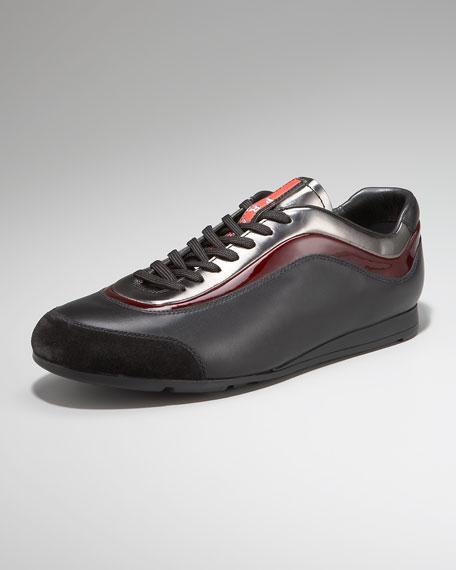 Patent-Stripe Sneaker