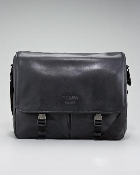 blue prada clutch - Prada Soft Leather Messenger Bag