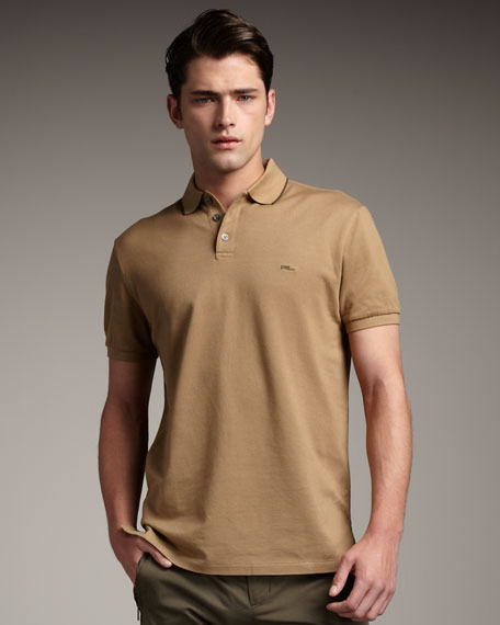 Tipped Stretch-Mesh Polo, Camel