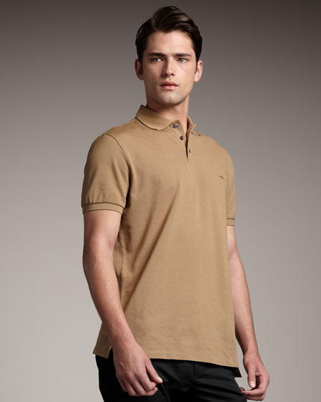 Tipped Stretch-Mesh Polo, Olive