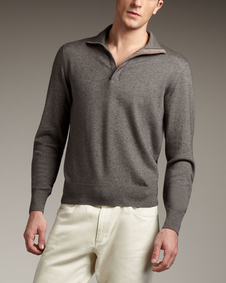 Mezzocollo Zip Sweater, Gray