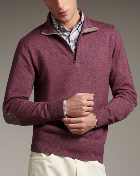 Mezzocollo Zip Sweater, Purple