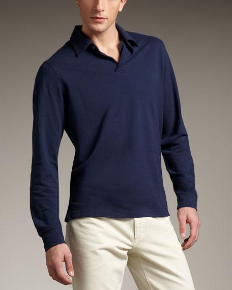 Long-Sleeve Polo, Navy