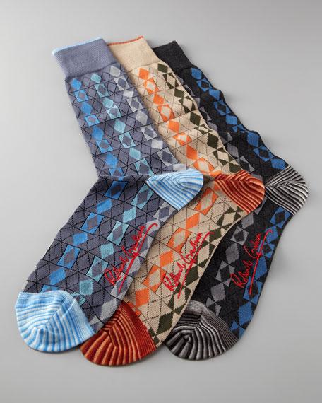 Phillips Diamond-Pattern Socks