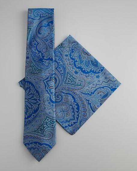 Paisley Tie & Pocket Square Set, Blue